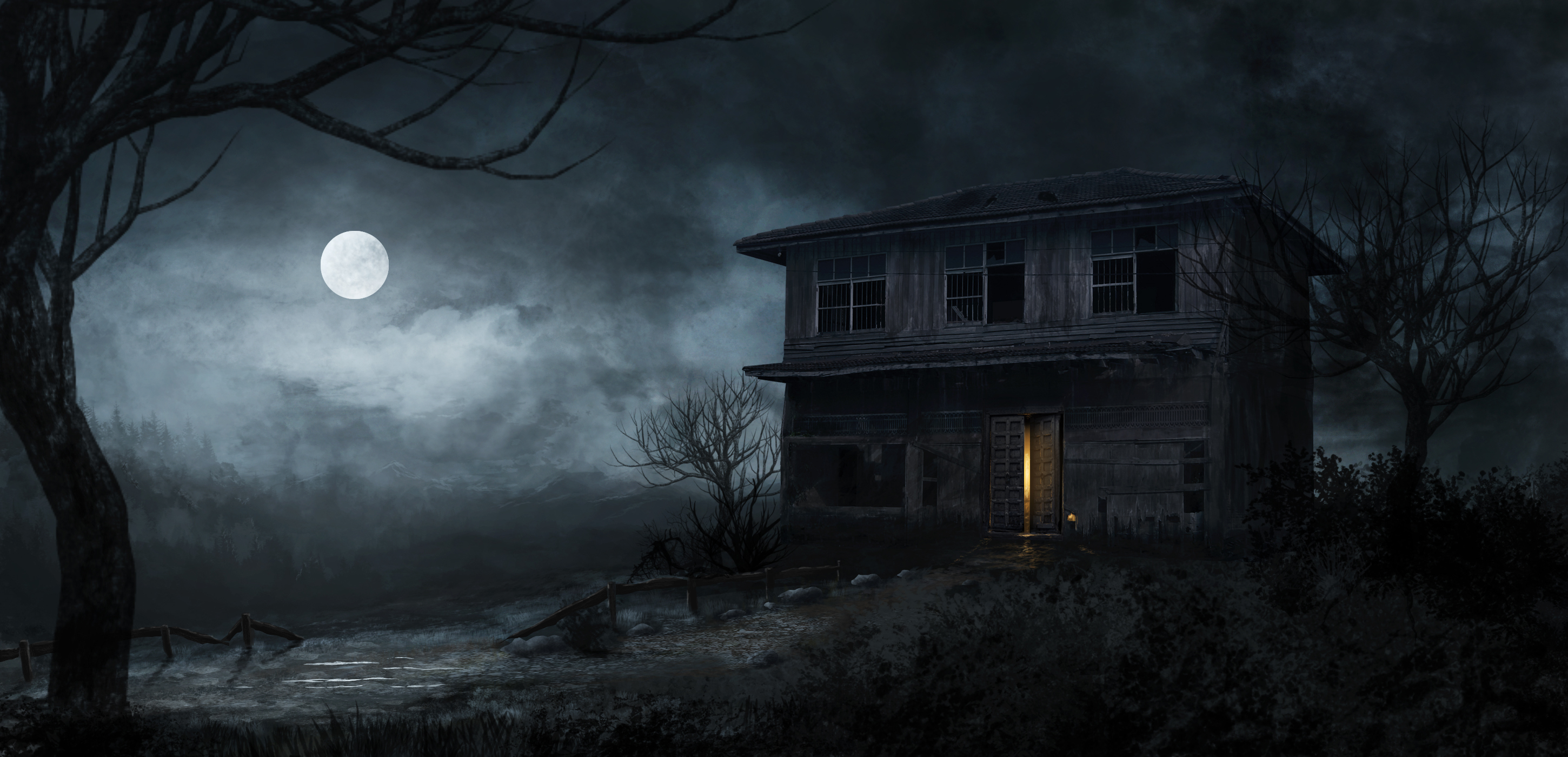 Haunted house full hd wallpaper and background image for Wallpaper with houses on it