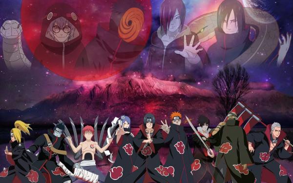 Anime Naruto Pain Nagato Itachi Uchiha Orochimaru Kabuto Yakushi Obito Uchiha Kakuzu Hidan Sasuke Uchiha Kisame Hoshigaki Konan Sasori Deidara Akatsuki Fond d'écran HD | Image