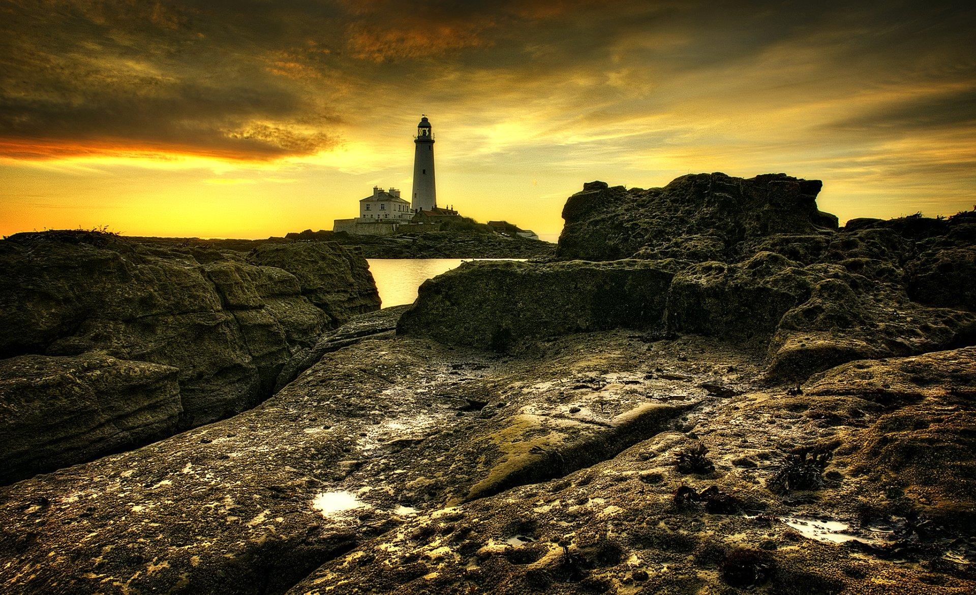 Man Made - Lighthouse  England Ocean Rock Wallpaper