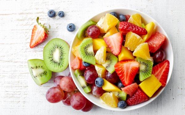 Food Fruit Fruits Kiwi Grapes Strawberry Blueberry HD Wallpaper   Background Image