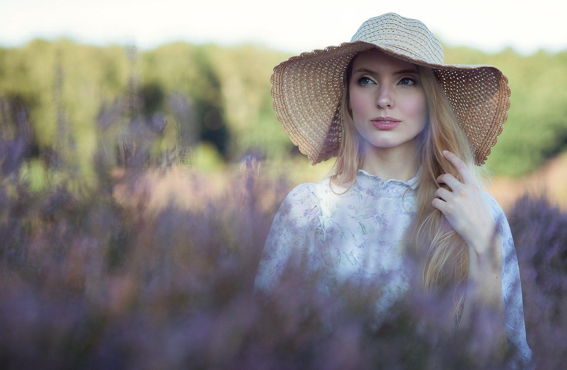 Women - Model  Woman Girl Hat Blonde Blue Eyes Bokeh Wallpaper