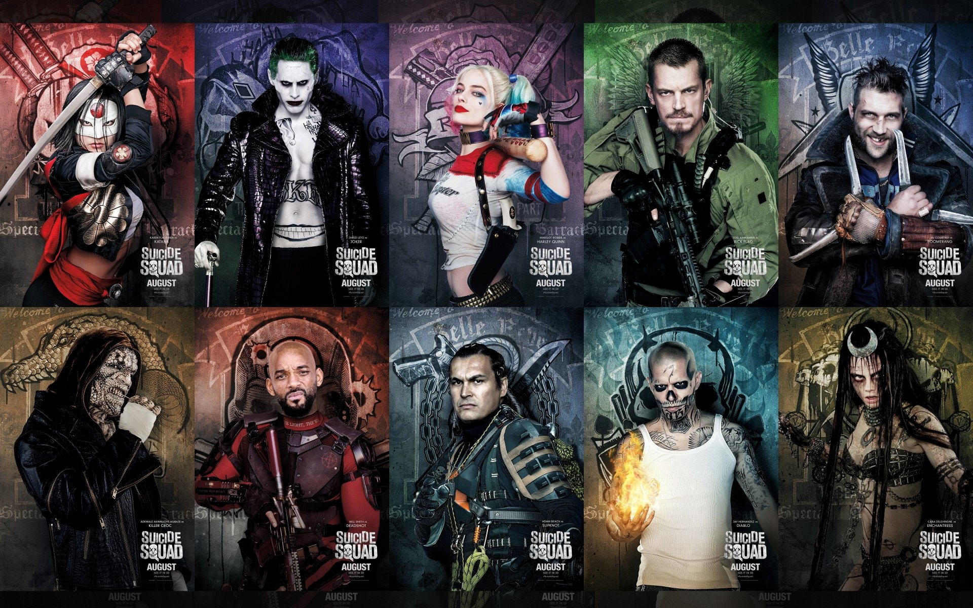 Movie - Suicide Squad  Will Smith Deadshot Margot Robbie Harley Quinn Katana (DC Comics) Karen Fukuhara Joker Jared Leto Joel Kinnaman Rick Flag Jai Courtney Captain Boomerang Adewale Akinnuoye-Agbaje Killer Croc Adam Beach Slipknot (DC Comics) Jay Hernandez El Diablo Cara Delevingne Enchantress (DC Comics) Wallpaper