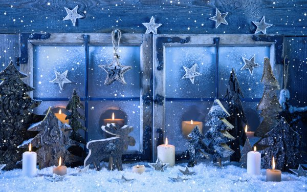 Holiday Christmas Reindeer Window Candle Star Snow HD Wallpaper | Background Image