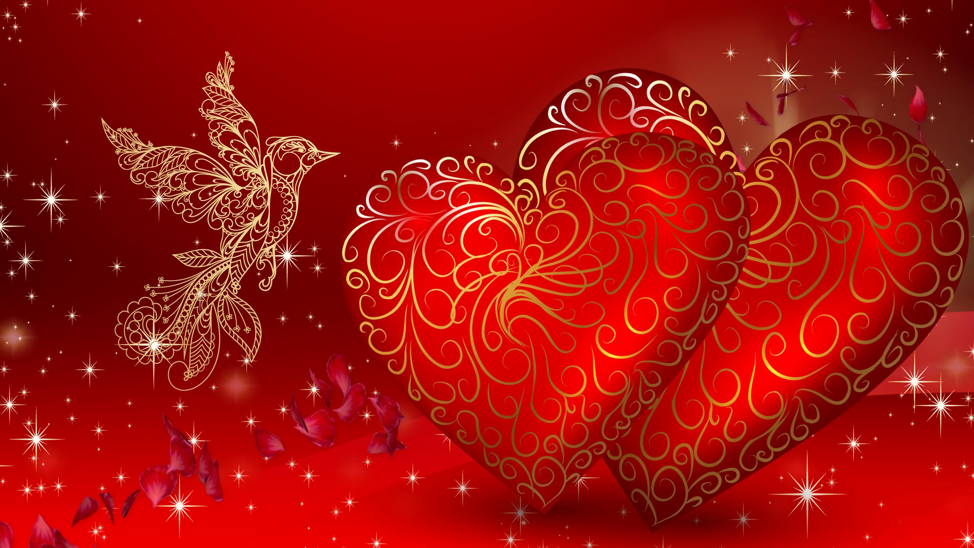 10 Top Cute Love Heart Wallpapers For Mobile Full Hd 1920: Valentine With Gold Dove HD Wallpaper
