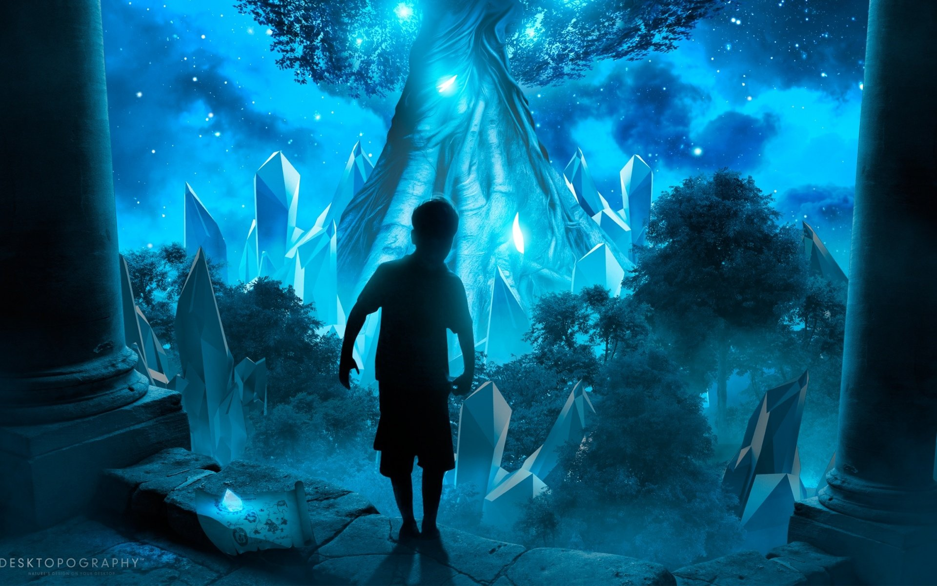 Fantasy - Child  Artistic Fantasy Little Boy Forest Blue Wallpaper