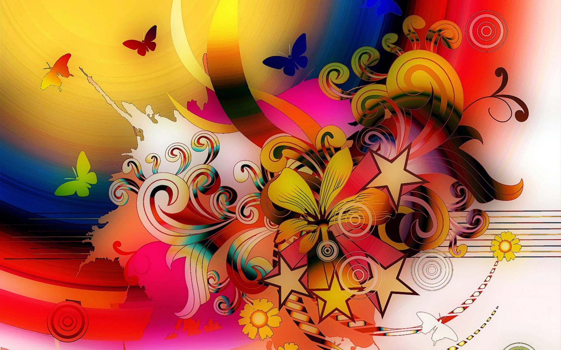 abstract wallpapers flower colorful digital arts butterflies butterfly flowers power graphics background backgrounds star colors desktop schools illustration ii cg