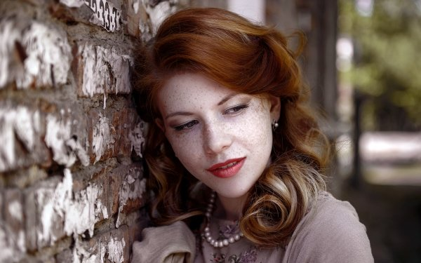 Women Face Woman Model Redhead Lipstick Freckles HD Wallpaper   Background Image