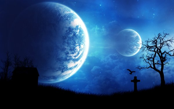 Sci Fi Planets Cemetery HD Wallpaper | Background Image