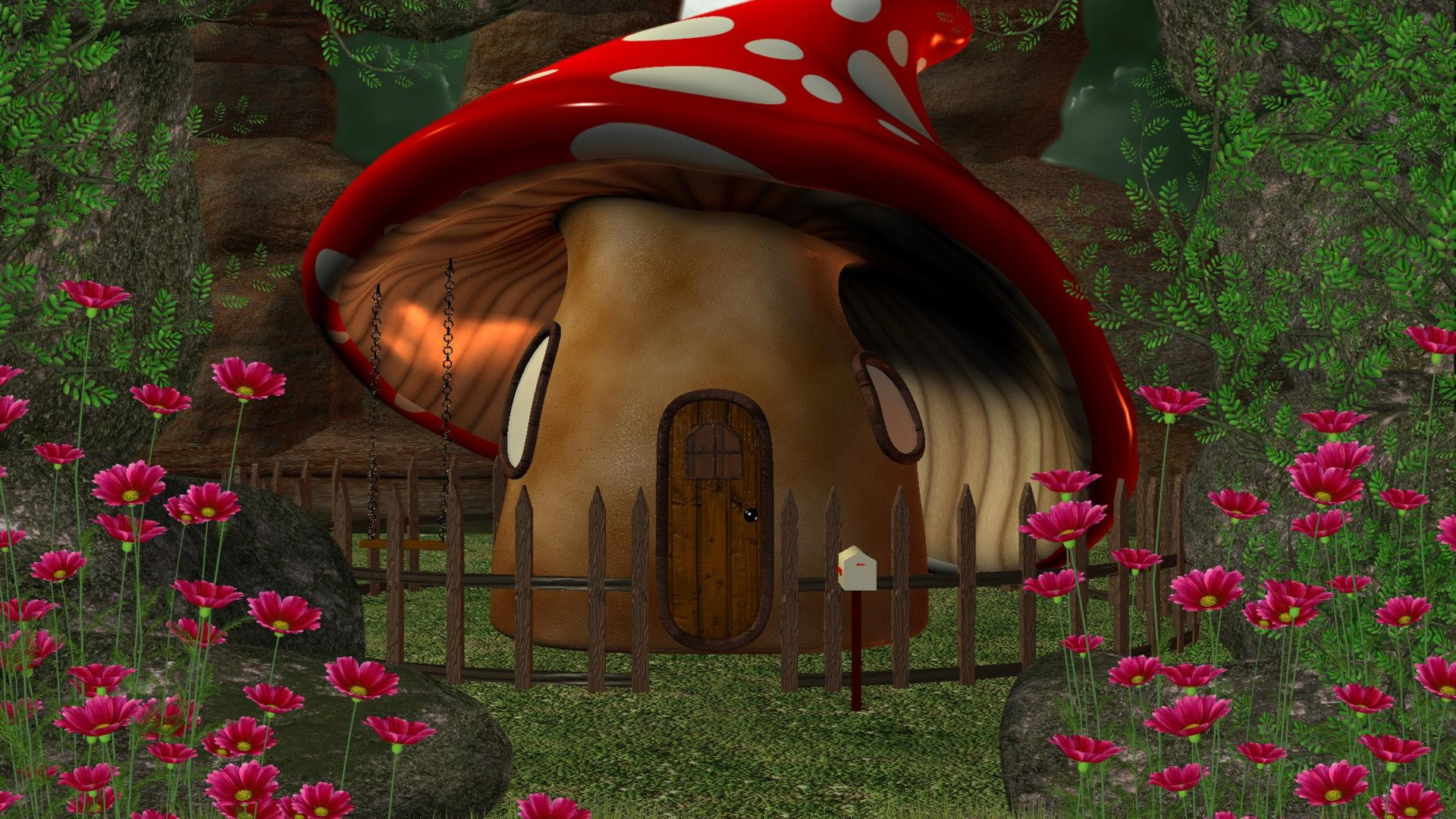 Mushroom House In The Forest Hd Wallpaper