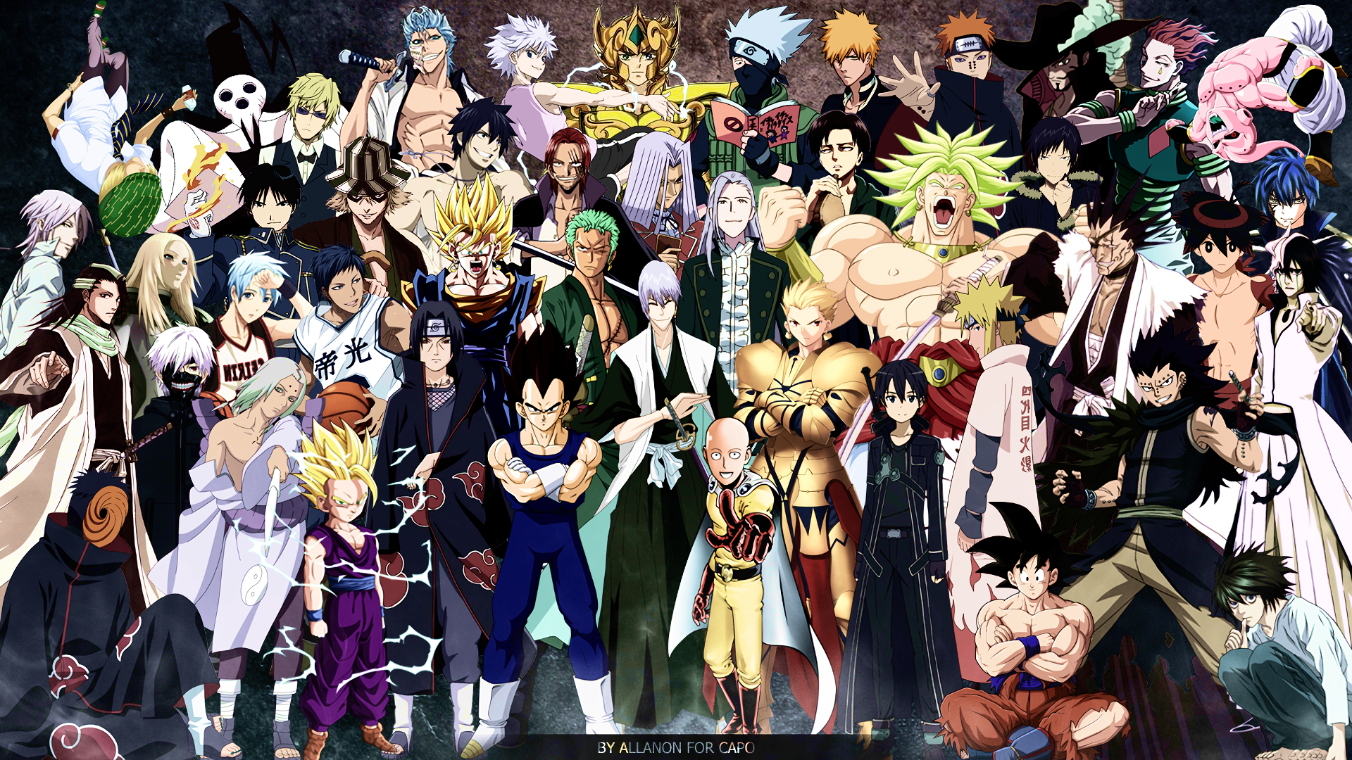 Anime - Crossover  Pain (Naruto) Kakashi Hatake Zoro Roronoa Tetsuya Kuroko Jellal Fernandes Gray Fullbuster Goku Ichigo Kurosaki Shizuo Heiwajima Saitama (One-Punch Man) Ken Kaneki Levi Ackerman Kirito (Sword Art Online) Kazuto Kirigaya Obito Uchiha Gajeel Redfox Ulquiorra Cifer Broly (Dragon Ball) Minato Namikaze Gilgamesh (Fate Series) L (Death Note) Vegeta (Dragon Ball) Majin Buu Daiki Aomine Fairy Tail Naruto Bleach Dragon Ball Dragon Ball Z Fullmetal Alchemist Sword Art Online Durarara!! Izaya Orihara Attack on Titan Shingeki No Kyojin Tokyo Ghoul Fate/Stay Night Fate/Zero Hunter × Hunter Death Note One Punch-Man Kuroko's Basketball Byakuya Kuchiki Kenpachi Zaraki Wallpaper