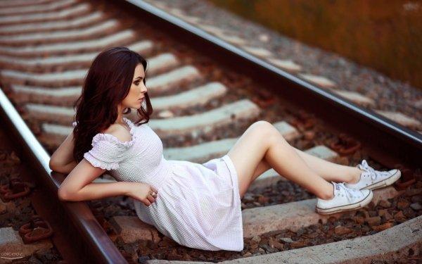 Women Mood Model White Dress Brunette Railroad HD Wallpaper | Background Image
