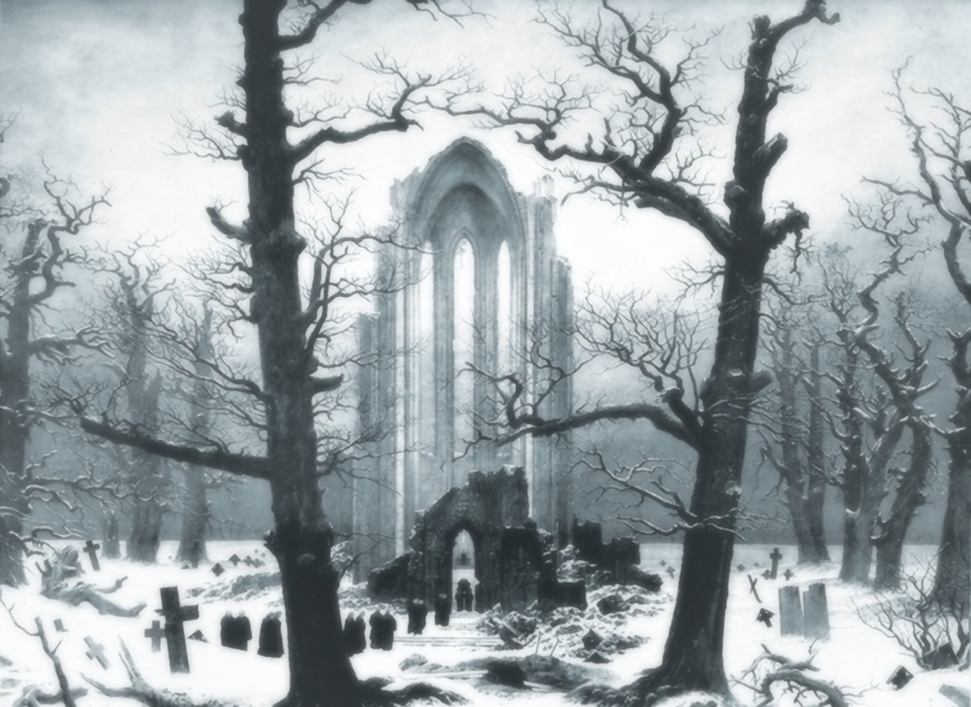 Artistic - Painting  Ruin Landscape Graveyard Cathedral Tree Fantasy Snow Winter Wallpaper