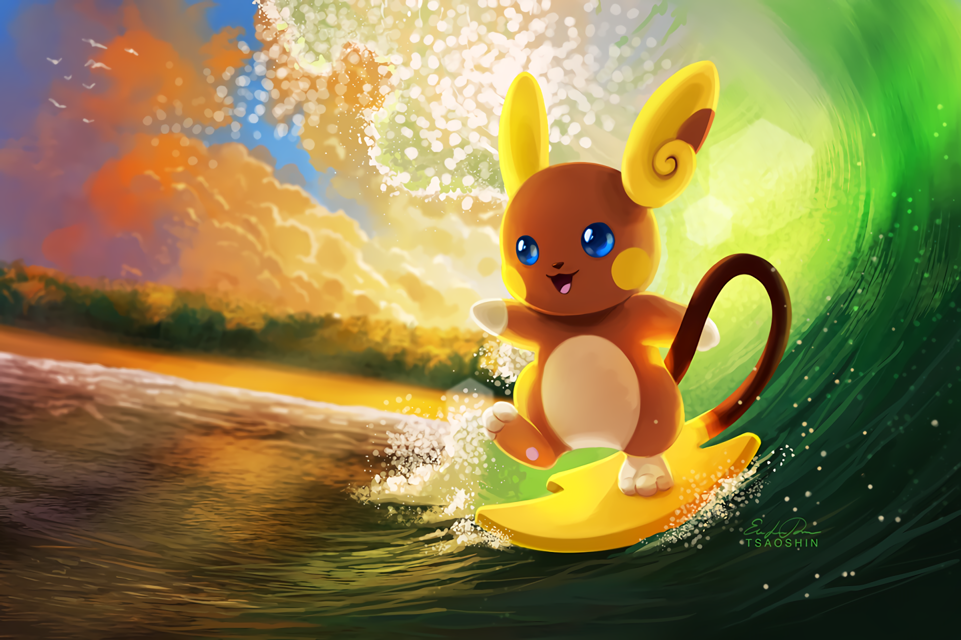 Video Game - Pokémon: Sun and Moon  Raichu (Pokémon) Alolan Raichu Pokémon Pokémon Sun And Moon Wallpaper