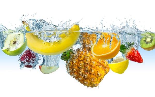 Food Fruit Fruits Water Banana Apple Pineapple orange Lemon Kiwi Strawberry HD Wallpaper | Background Image