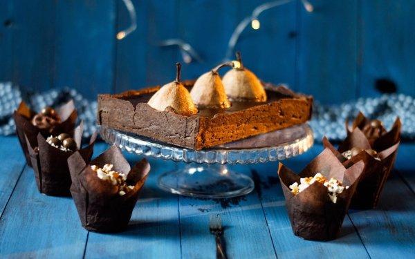 Food Dessert Still Life Pear Chocolate HD Wallpaper | Background Image