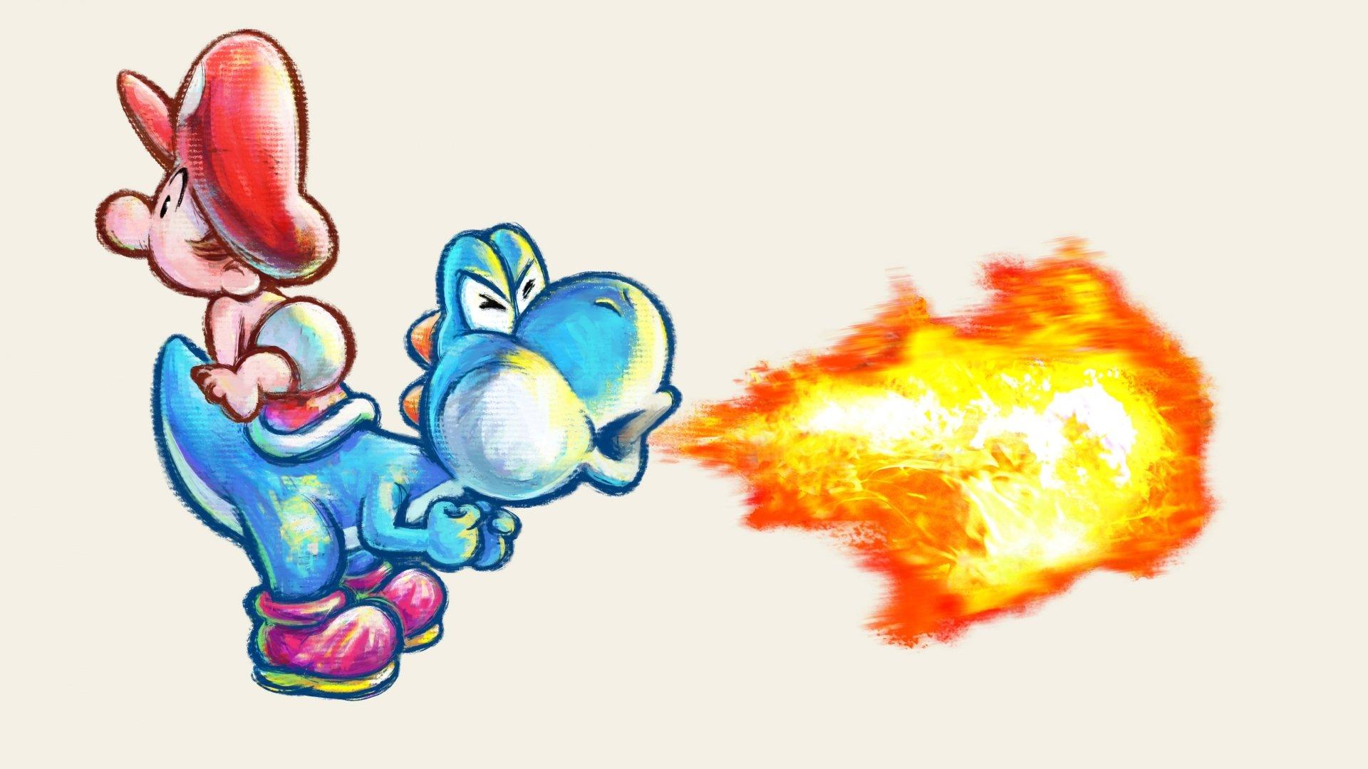 Datorspel - Super Mario World 2: Yoshi's Island  Yoshi Baby Mario Bakgrund
