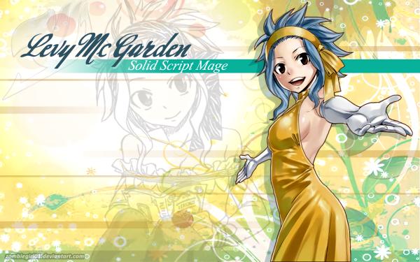 Anime Fairy Tail Levy McGarden Headband Brown Eyes Smile Blue Hair Dress Yellow Dress Glove Fond d'écran HD | Image