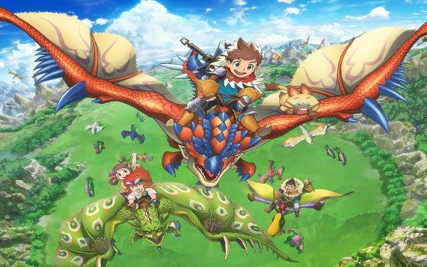 Anime Monster Hunter Stories: Ride On Monster Hunter Lute Cheval Lilia Rathalos Naville HD Wallpaper   Background Image