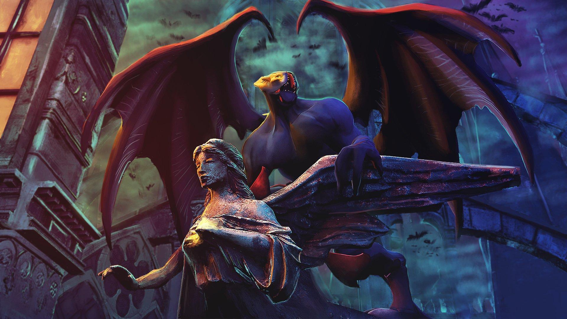 Video Game - DotA 2  Night Stalker (Dota 2) Creature Angel Statue Wings Wallpaper