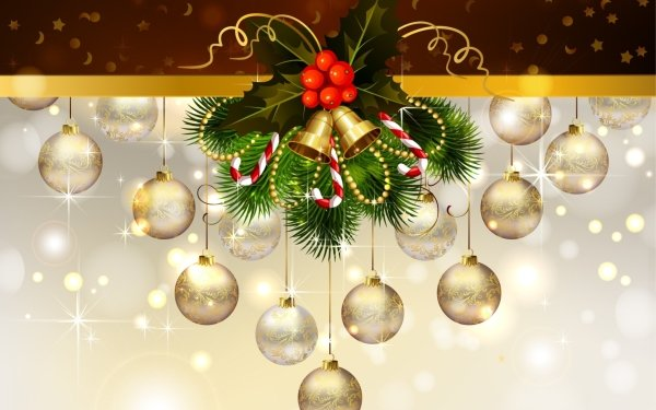 Holiday Christmas Vector Christmas Ornaments Bell HD Wallpaper | Background Image