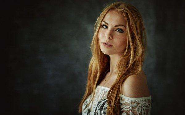 Women Model Models Woman Blonde Blue Eyes Freckles HD Wallpaper | Background Image