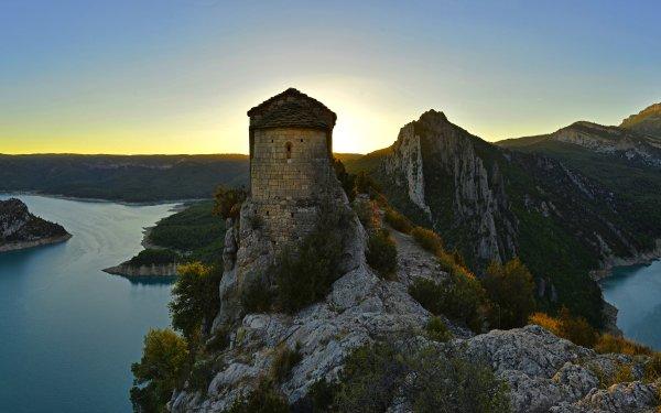 Photography Landscape Fortress Mare de Déu de la Pertusa Spain Lake HD Wallpaper | Background Image