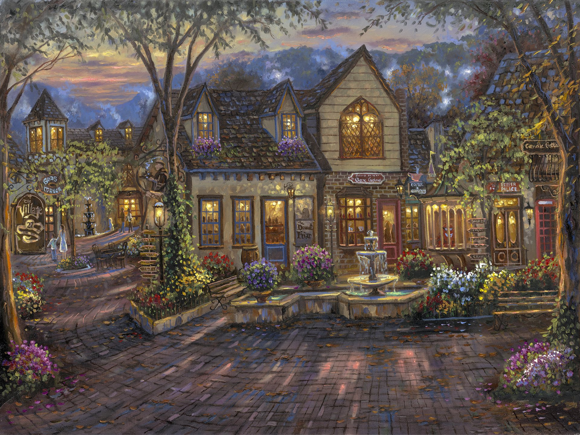 Artistic - Painting  Artistic Village Town France House Colors Wallpaper