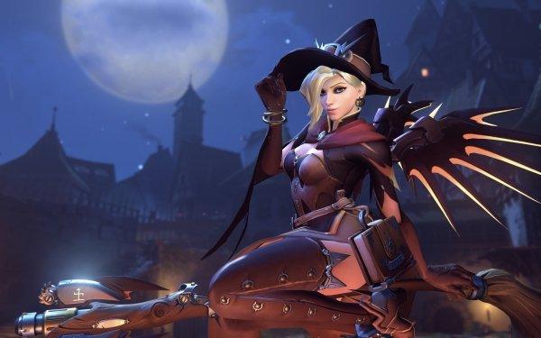 Video Game Overwatch Halloween Mercy HD Wallpaper | Background Image
