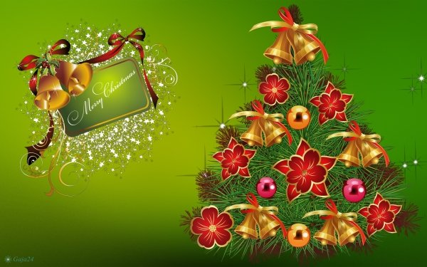 Holiday Christmas Christmas Tree Merry Christmas Bell Poinsettia HD Wallpaper   Background Image