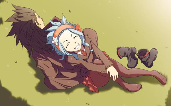 Anime Fairy Tail Levy McGarden Gajeel Redfox Smile Skirt Pantyhose Herbe Fond d'écran HD | Image