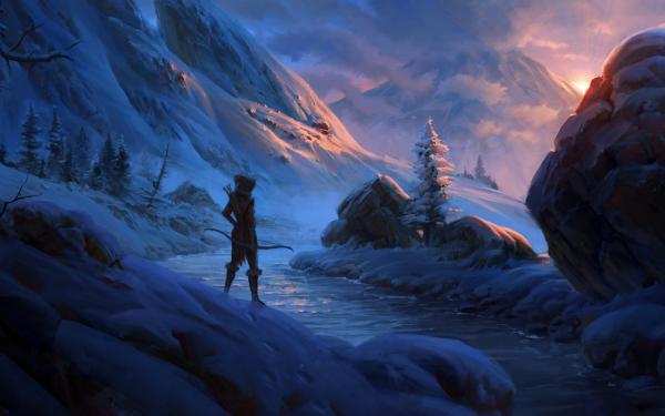 Fantaisie Guerrières Guerrier Snow Glace Paysage Hiver Woman Warrior Archer Fond d'écran HD | Image