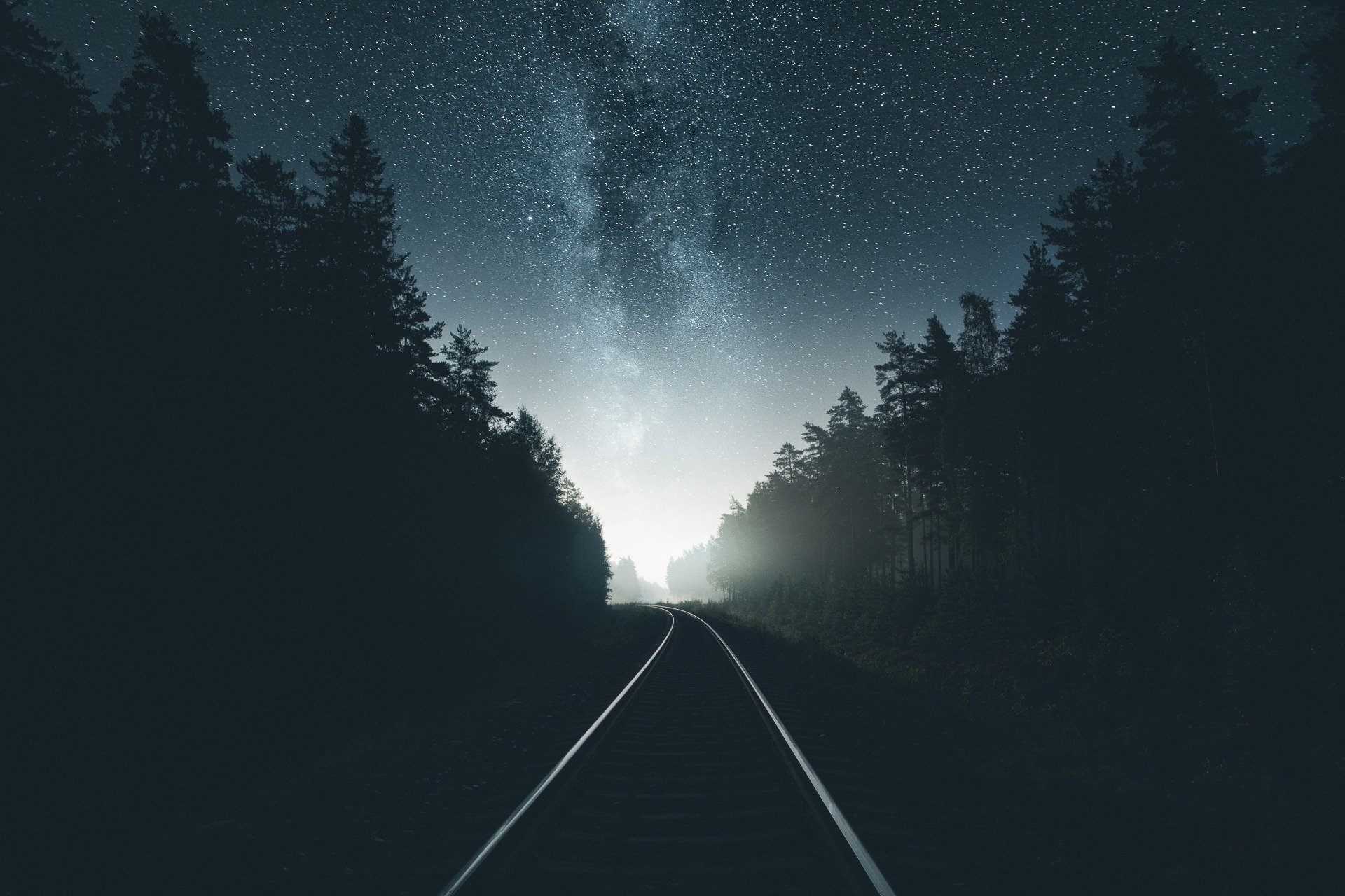 Man Made - Railroad  Night Sky Starry Sky Wallpaper