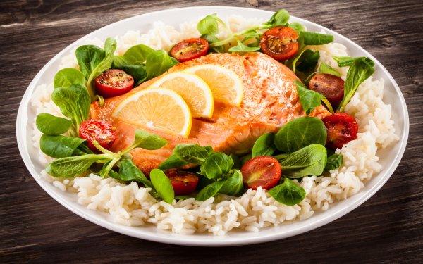 Alimento Comida Pez Tomate Rice Ensalada Salmon Fondo de pantalla HD | Fondo de Escritorio