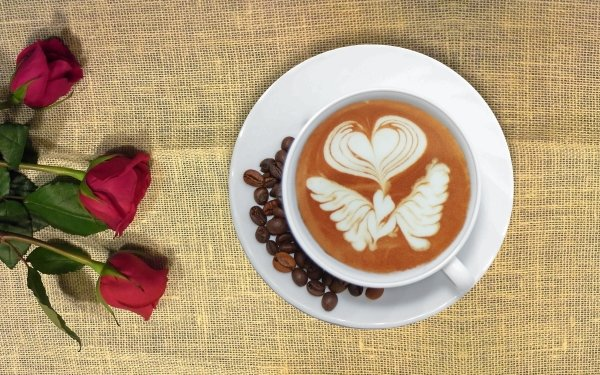 Food Coffee Cup Coffee Beans Red Rose HD Wallpaper   Background Image