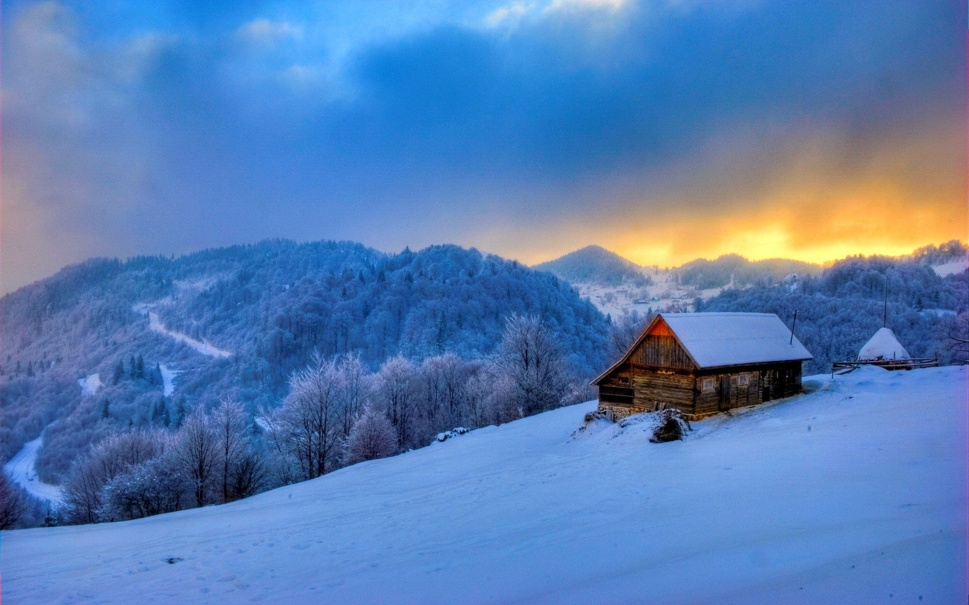 Mountain Cabin In Winter Hd Wallpaper Background Image 1920x1200 Id 762374 Wallpaper Abyss