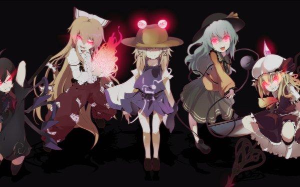 Anime Touhou Ran Yakumo Nue Houjuu Fujiwara no Mokou Suwako Moriya Koishi Komeiji Flandre Scarlet Komachi Onozuka HD Wallpaper | Background Image