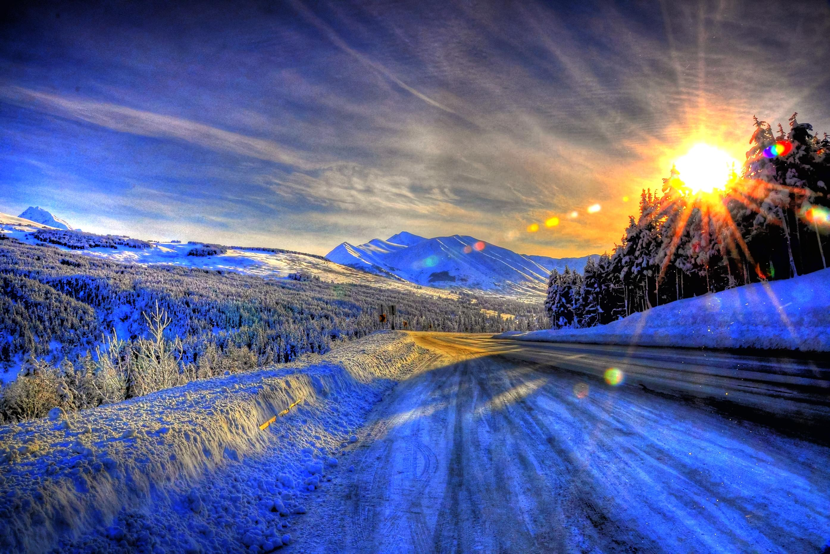 Winter Road At Sunset Hd Wallpaper Background Image 2789x1863