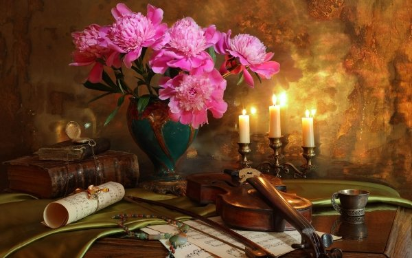 Photography Still Life Flower Violin Sheet Music Candle Book Pink Flower HD Wallpaper | Background Image