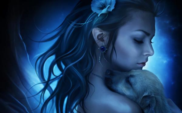 Fantasy Women Woman Girl Blue Puppy HD Wallpaper   Background Image