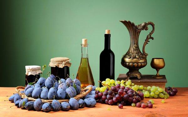 Food Still Life Fruit Plum Grapes Bottle HD Wallpaper   Background Image
