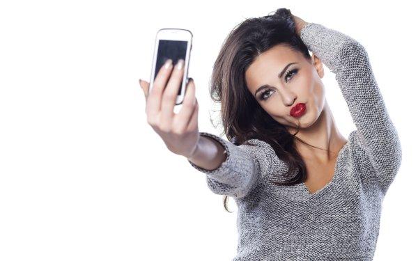 Women Model Models Brunette Lipstick Selfie Hazel Eyes HD Wallpaper | Background Image