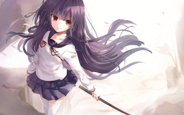 Anime Seraph of the End Mahiru Hīragi Purple Hair Red Eyes Smile Sword School Uniform Skirt Thigh Highs Long Hair HD Wallpaper | Background Image