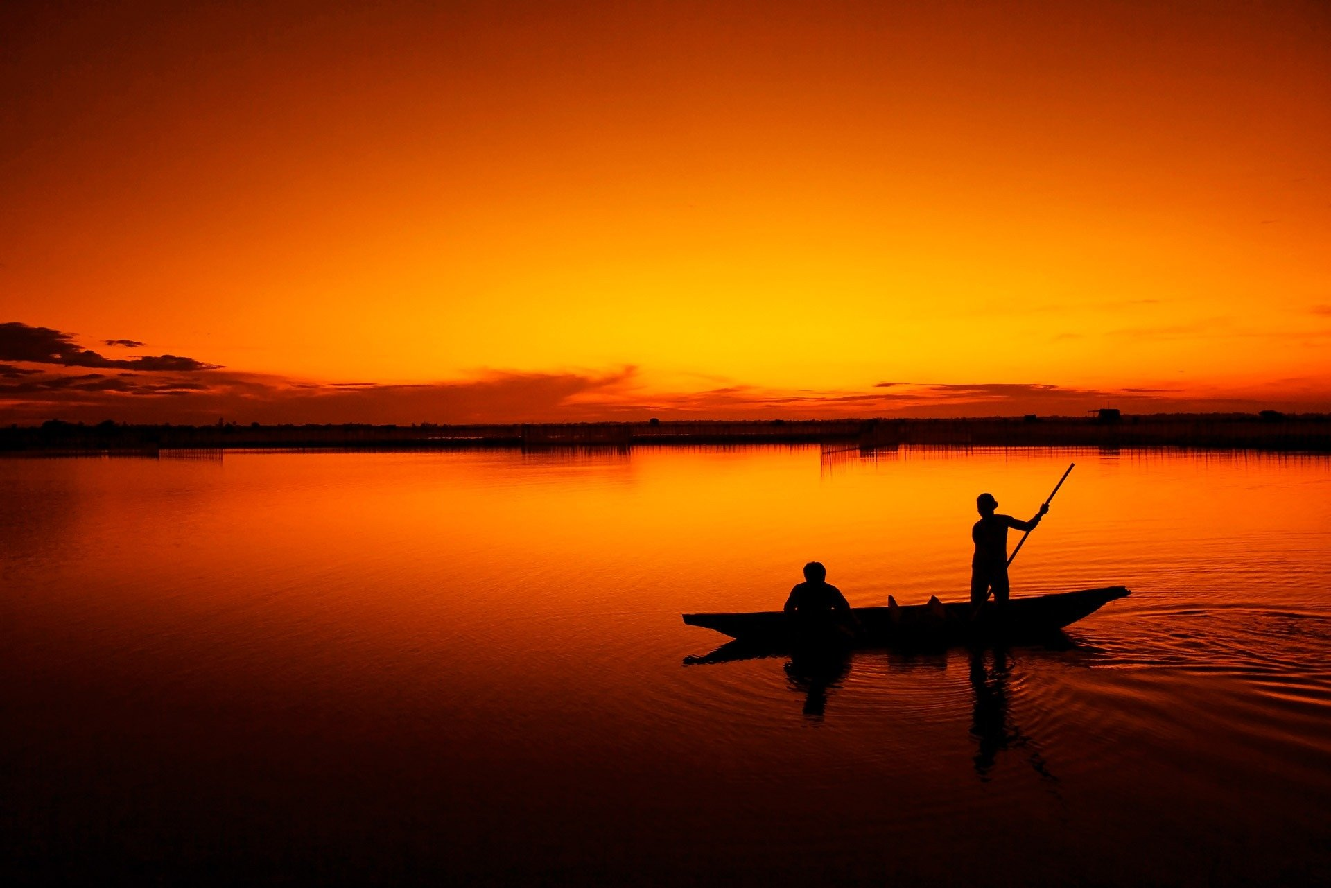 Photography - Fisherman  Sunset Orange Lagoon Boat Vietnam People Wallpaper