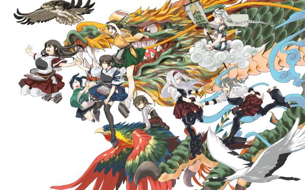 Anime Kantai Collection Unryuu Hiryuu Akagi Kaga Shoukaku Zuikaku Souryuu HD Wallpaper | Background Image