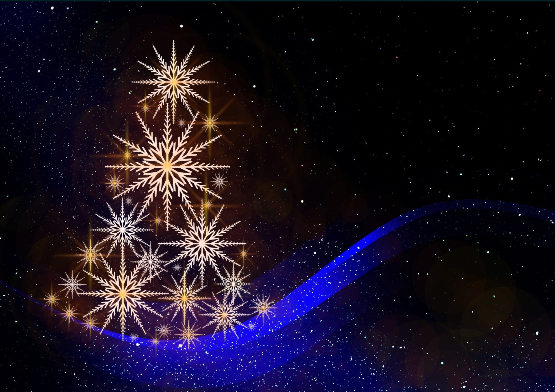 Holiday - Christmas  Artistic Holiday Snowflake Christmas Tree Wallpaper