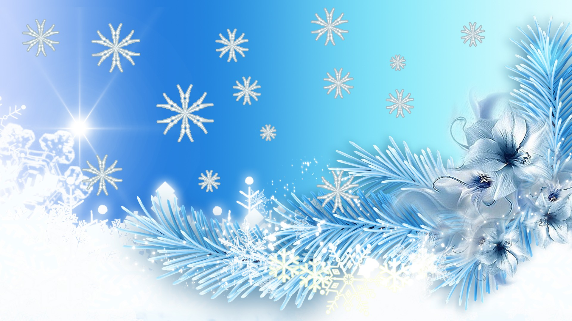 artistic winter artistic branch snowflake flower snow blue white wallpaper