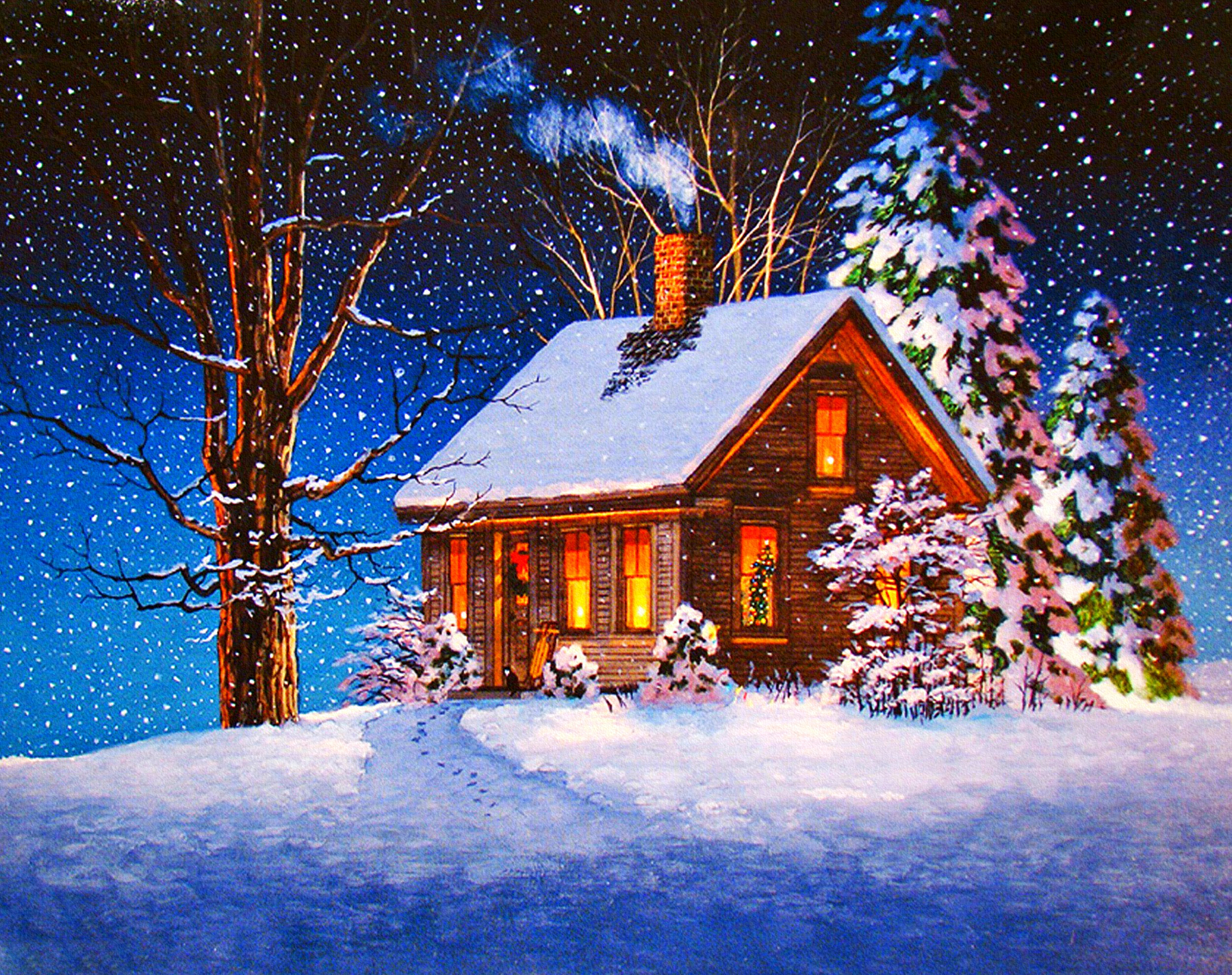 Christmas Cabin Wallpaper And Background 1800x1424 Id