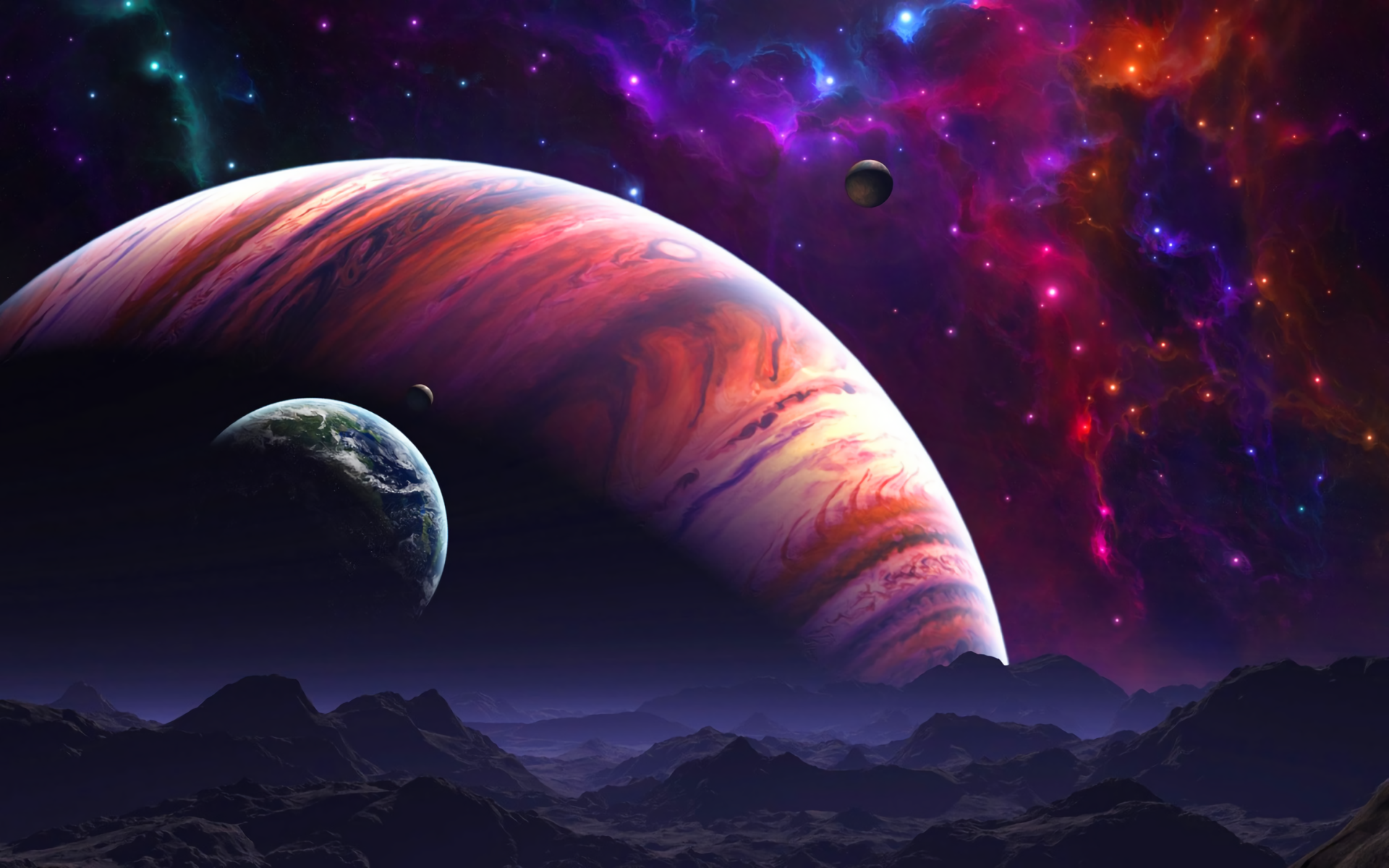 Planets in space hd wallpaper hintergrund 1920x1200 - Space wallpaper 3840x1200 ...