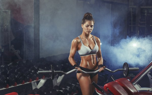 Sports Weightlifting Brunette Fitness HD Wallpaper   Background Image