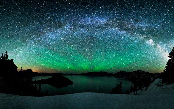 Earth Winter Aurora Borealis Sky Night Lake Mountain Tree Snow HD Wallpaper | Background Image